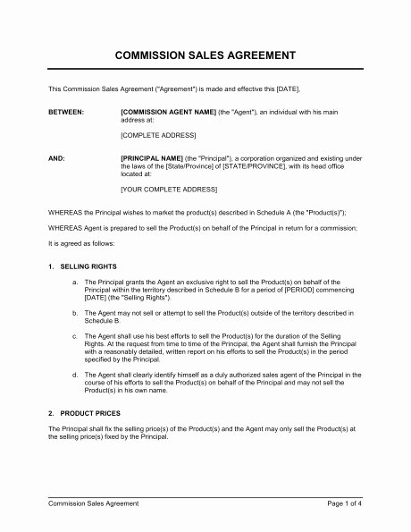 Manufacturers Rep Agreement Sample Unique Mission Sales Agreement form Templates Resume