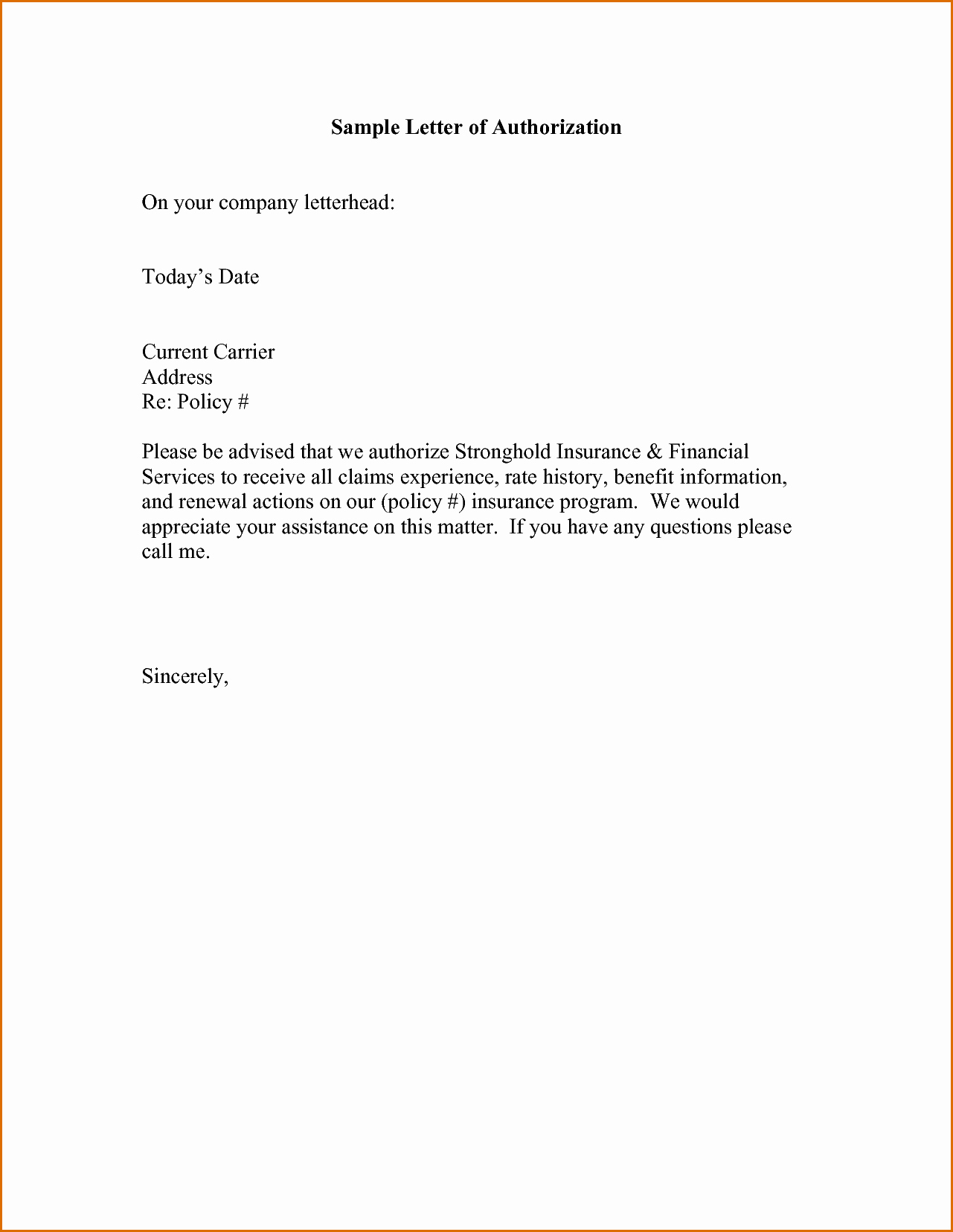 Manufacturers Representative Agreements Best Of 9 Authorization Sample Letters