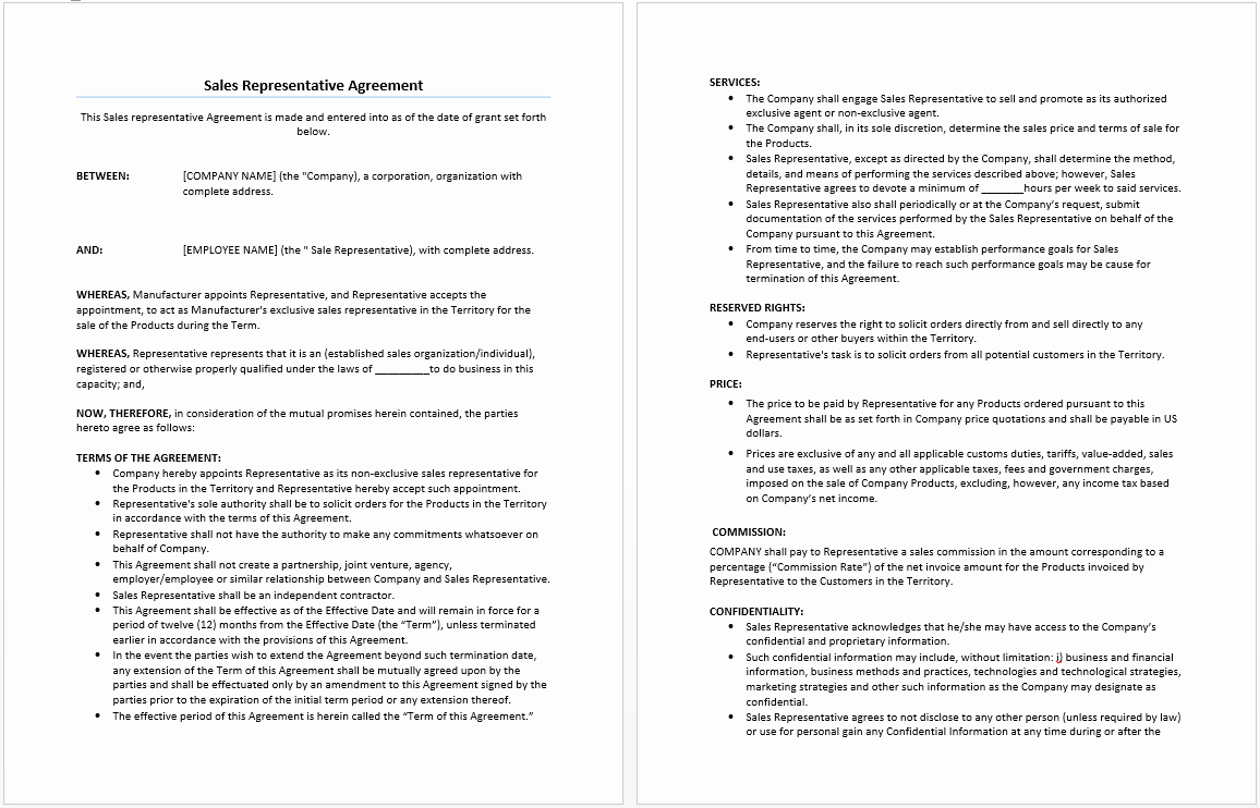 Manufacturers Representative Agreements New Sales Representative Agreement Template Microsoft Word