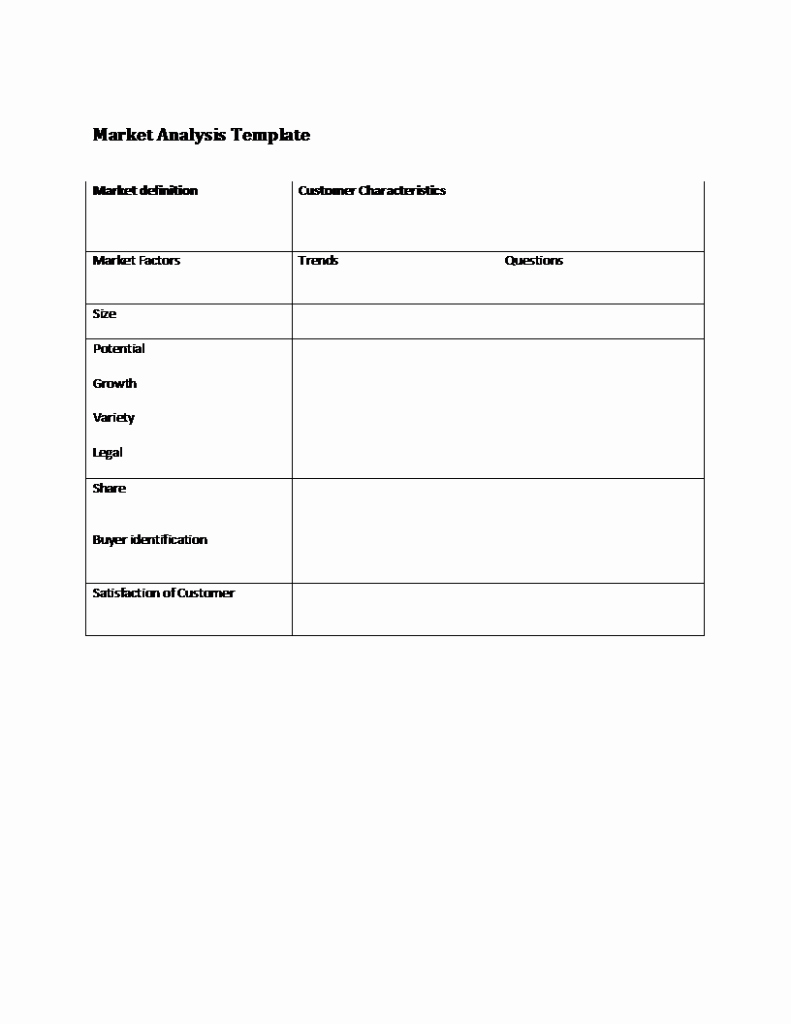 Market assessment Template Luxury Market Analysis Template