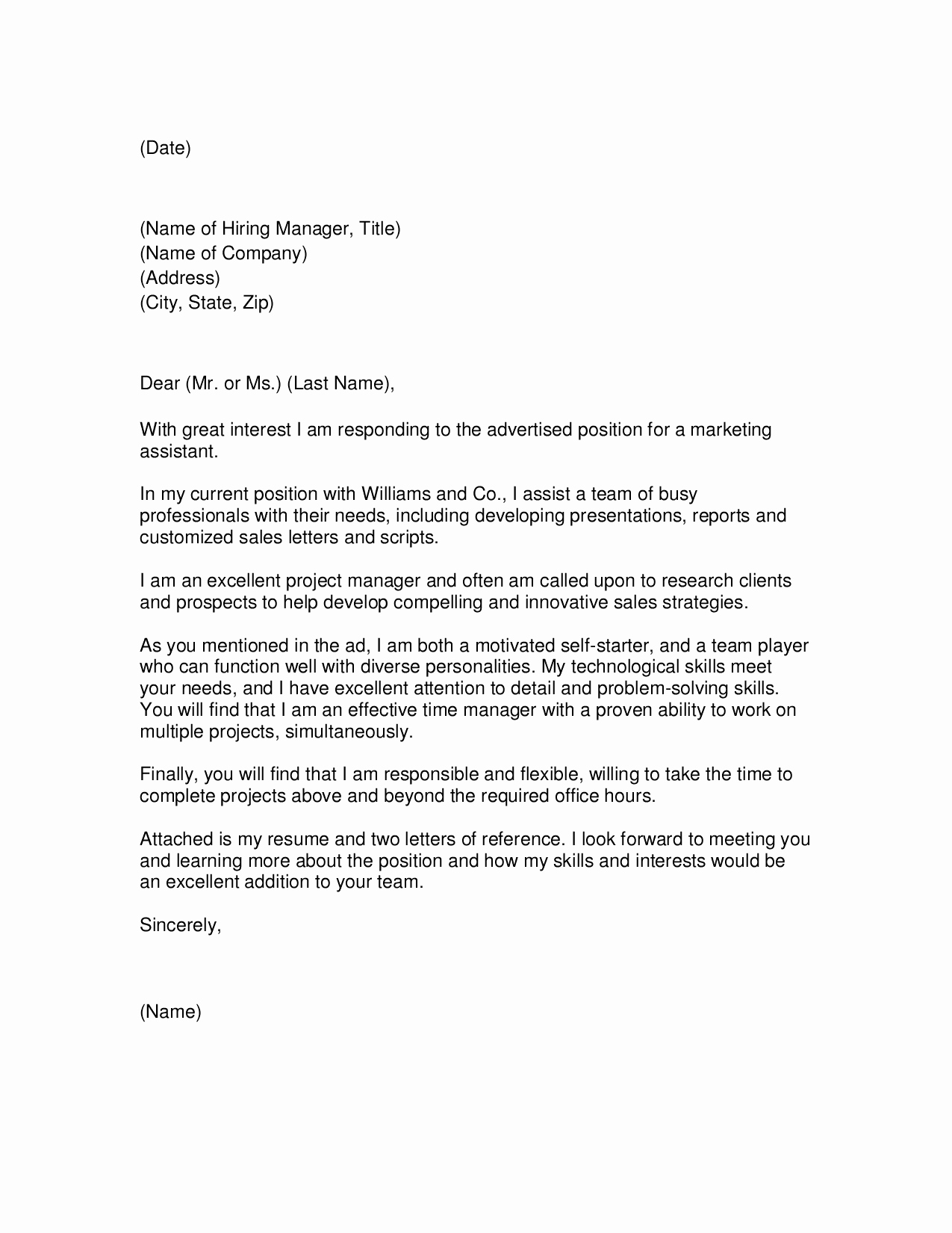 Marketing Coordinator Cover Letter Awesome Marketing Project Manager Cover Letter Examples