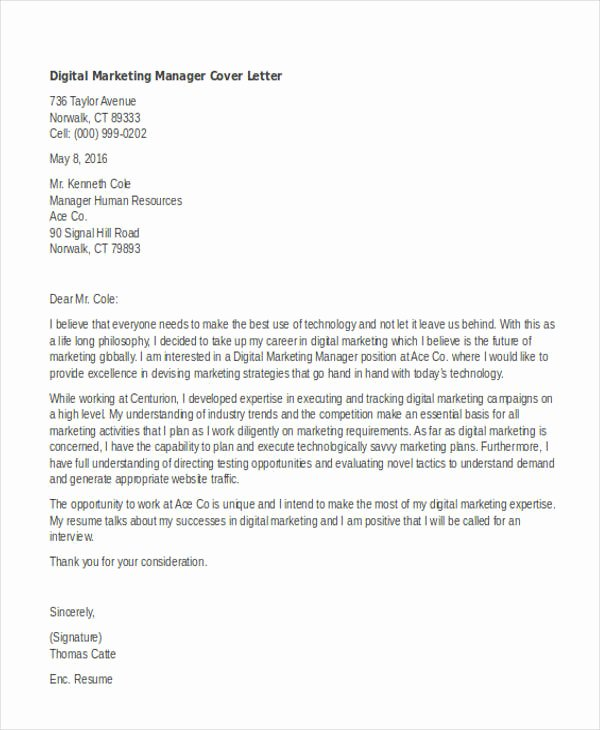 Marketing Coordinator Cover Letter Beautiful 11 Marketing Cover Letter Templates Free Sample
