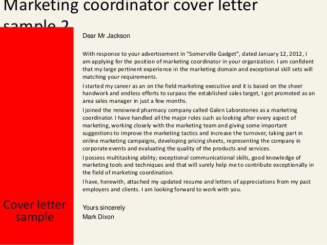 Marketing Coordinator Cover Letter Beautiful Marketing Coordinator Cover Letter