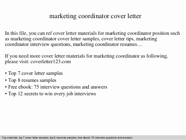 Marketing Coordinator Cover Letter Best Of Marketing Coordinator Cover Letter