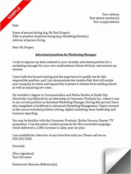 Marketing Coordinator Cover Letter Inspirational Marketing Manager Cover Letter Sample