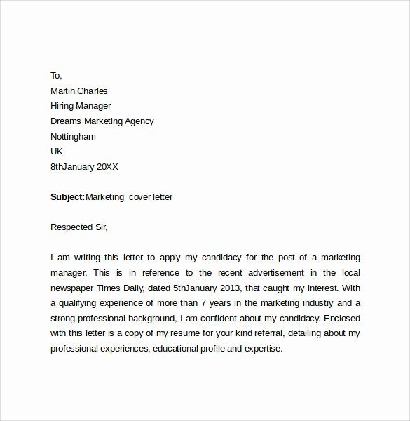 Marketing Coordinator Cover Letter Unique 10 Marketing Cover Letter Examples to Download