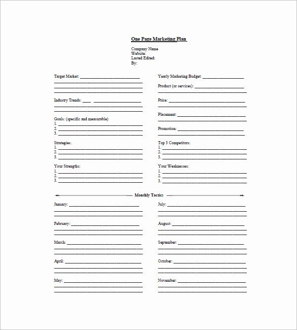 Marketing One Pager Template Fresh 9 E Page Marketing Plan Templates Doc Pdf Excel