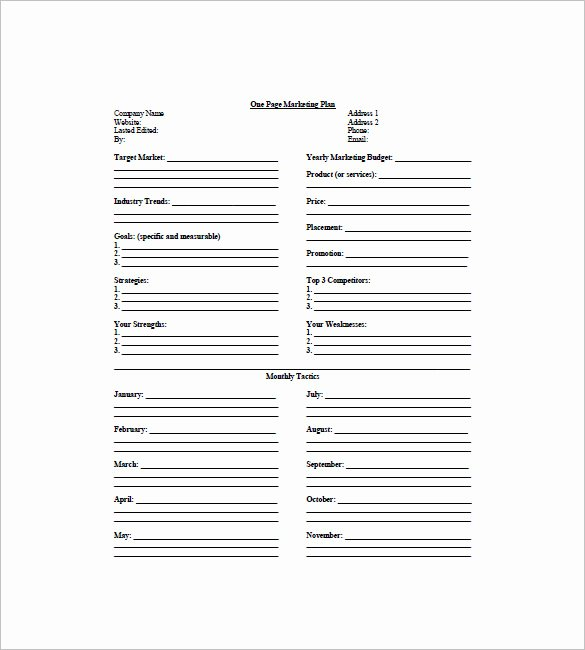 Marketing One Pager Template Luxury 9 E Page Marketing Plan Templates Doc Pdf Excel