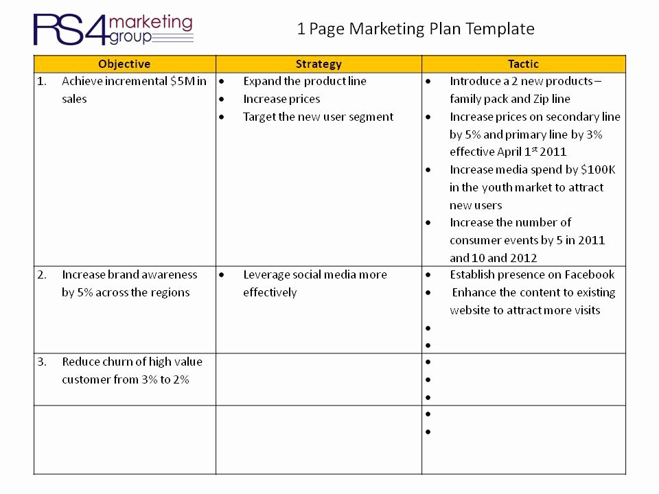Marketing One Pager Template Unique E Page Marketing Plan Rs4