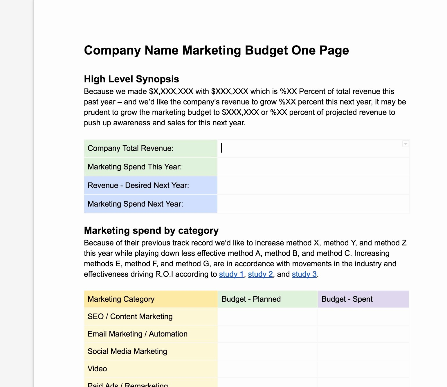 Marketing One Pager Template Unique Easy Free Marketing Bud Ing E Page Template