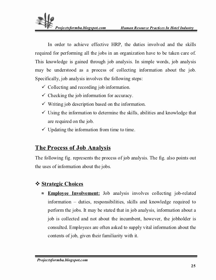 Marketing Project Request form Template Awesome A Project Report On Hr Practice In Hotel Industry