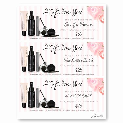 Mary Kay Customer Profile Template Inspirational Mary Kay Customizable Gift Certificate Edit the Name