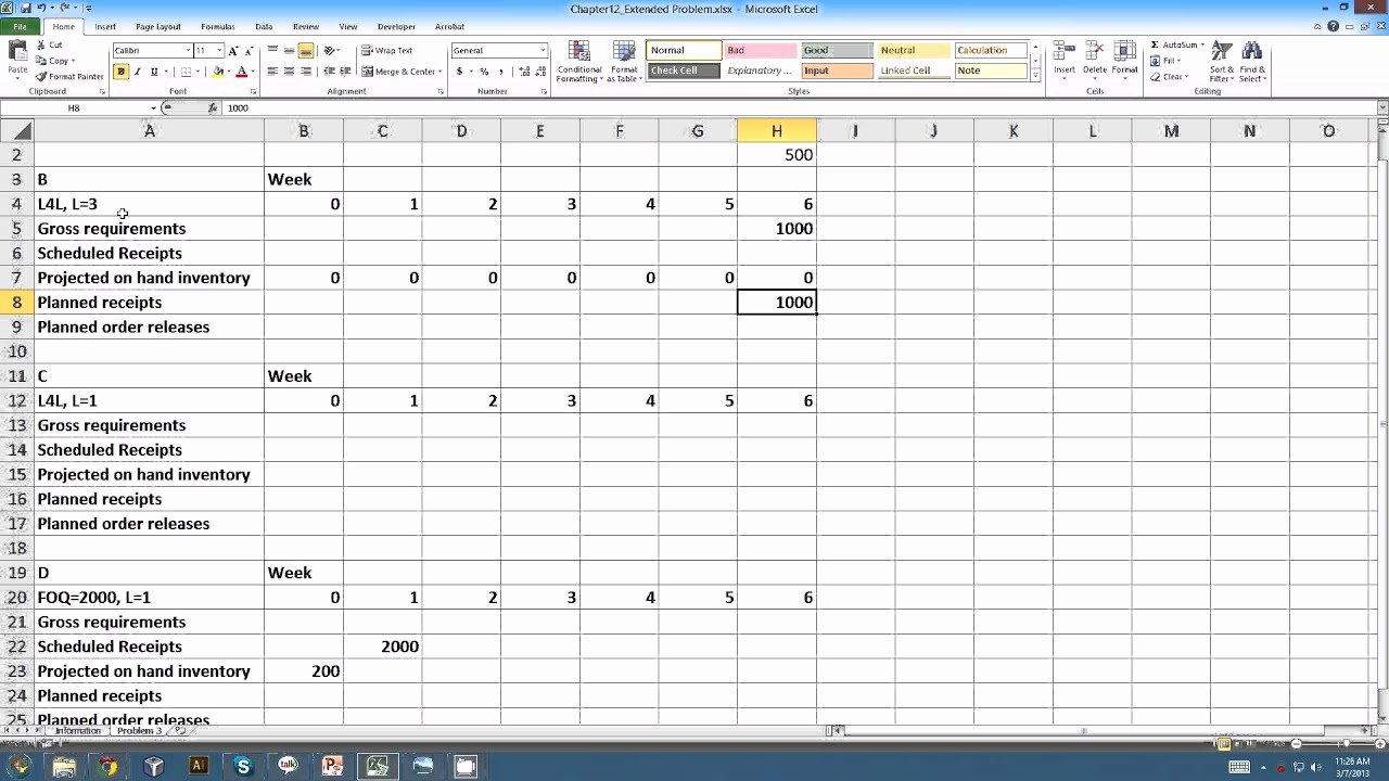 Master Production Schedule Template Excel Inspirational Master Resource Planning Example