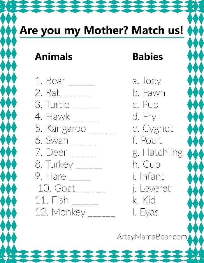 Matching Test Template Microsoft Word Awesome Animal Matching Baby Shower Game Free Printable