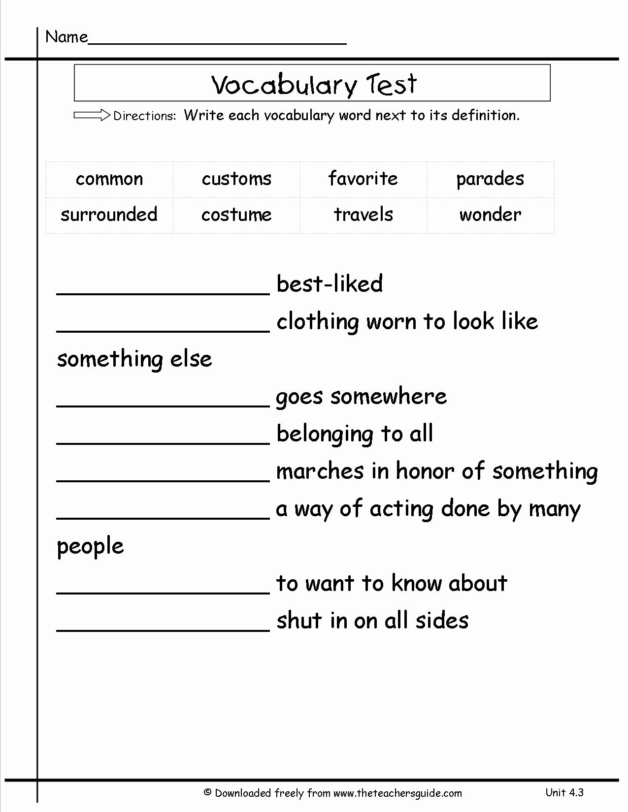 Matching Test Template Microsoft Word Lovely Wonders Second Grade Unit Four Week Three Printouts