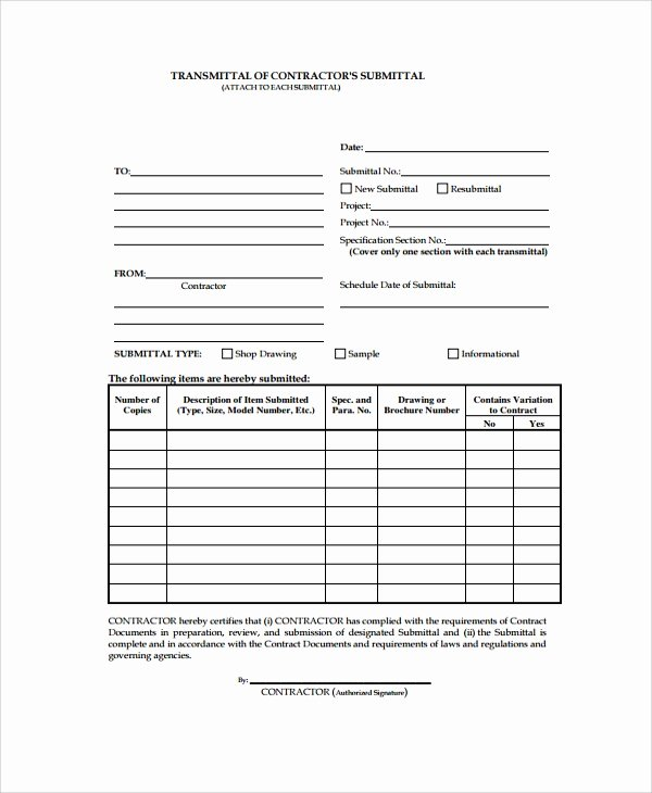 Material Transmittal form Inspirational 8 Sample Submittal Transmittal forms Pdf Word