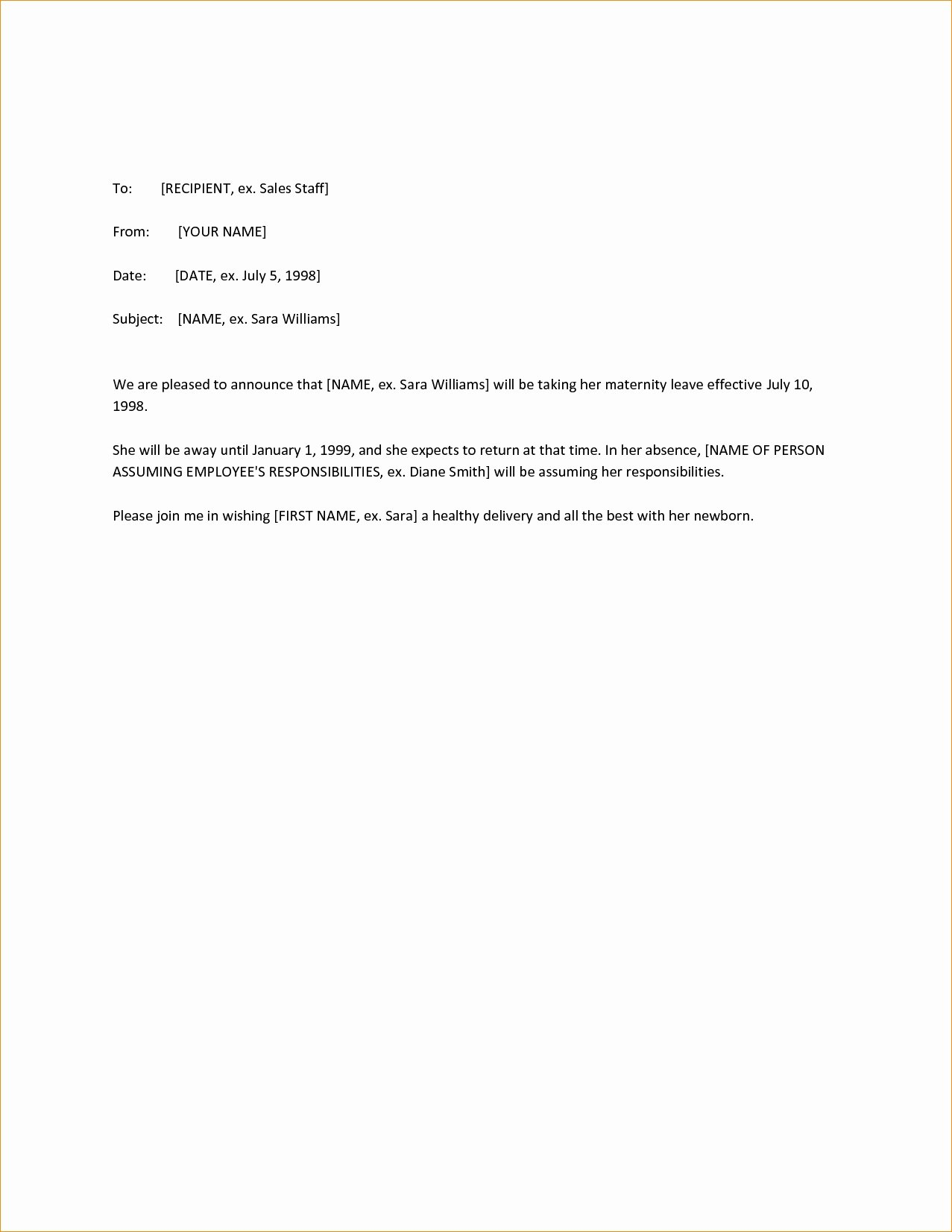 Maternity Leave Letter to Clients Luxury 12 13 Employee Leaving Announcement Letter Samples