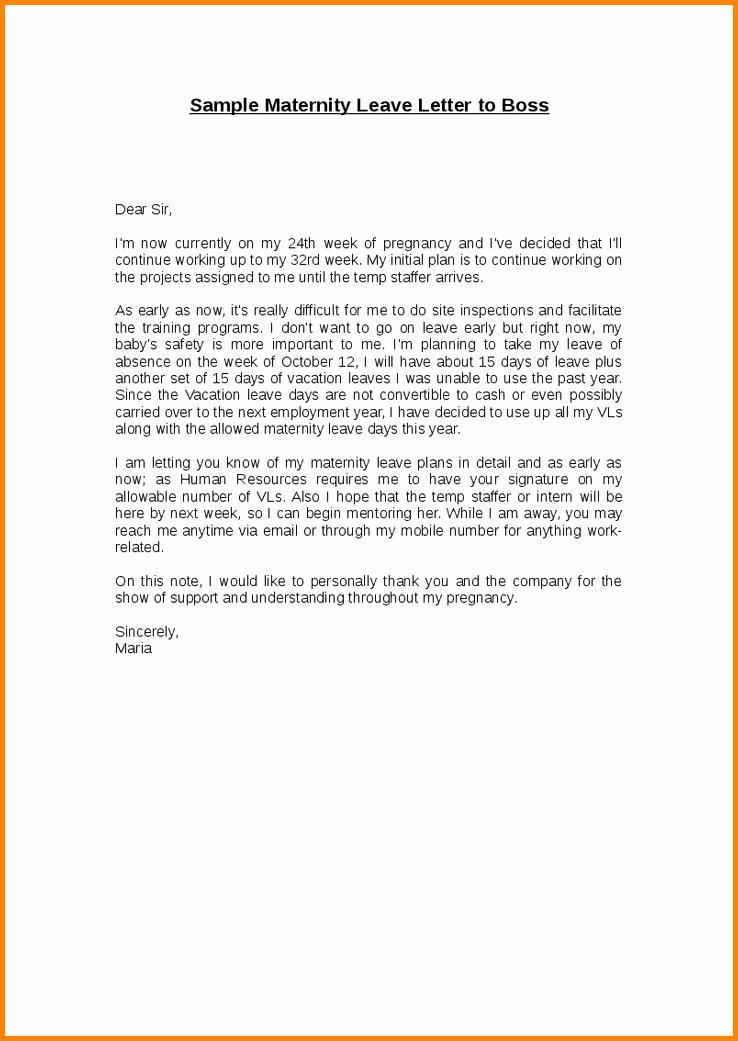 Maternity Leave Resignation Letter Best Of 10 Leave Letter to Boss Steamtraaleren Borgenes