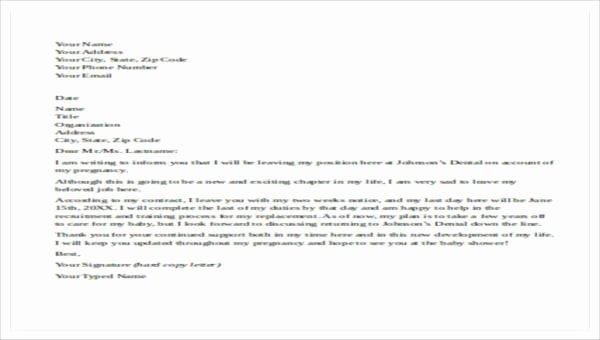 Maternity Leave Resignation Letter Lovely 5 Maternity Resignation Letter Samples Examples