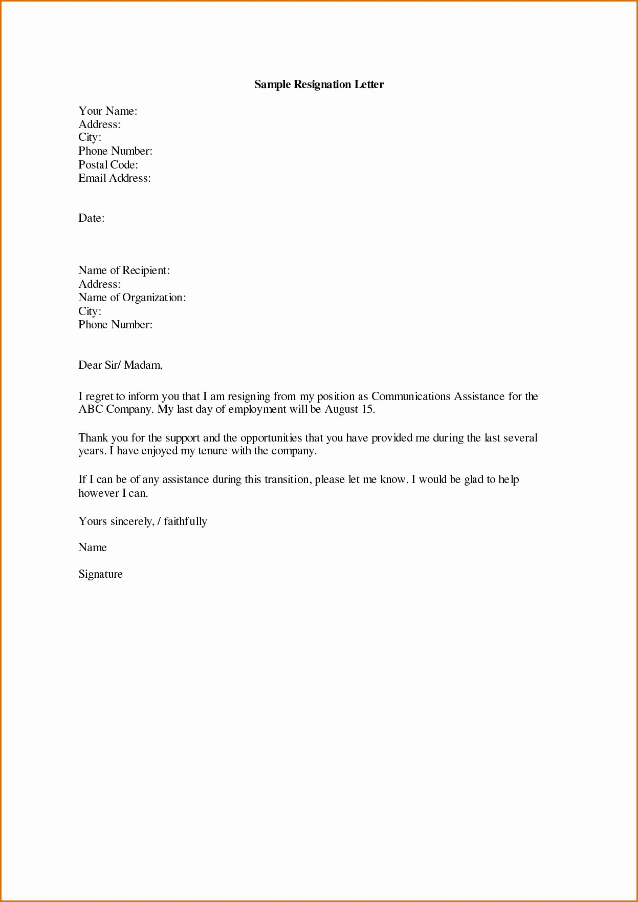 Maternity Leave Resignation Letter New Valid Template Letter Resignation Following Maternity