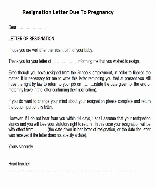 Maternity Leave Resignation Letter Unique Letter Resignation before Maternity Leave