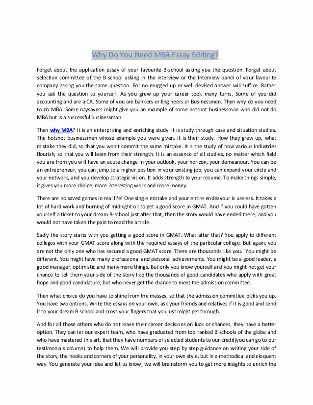 Mba Admission Essay Samples Pdf New why Do You Need Mba Essay Editing
