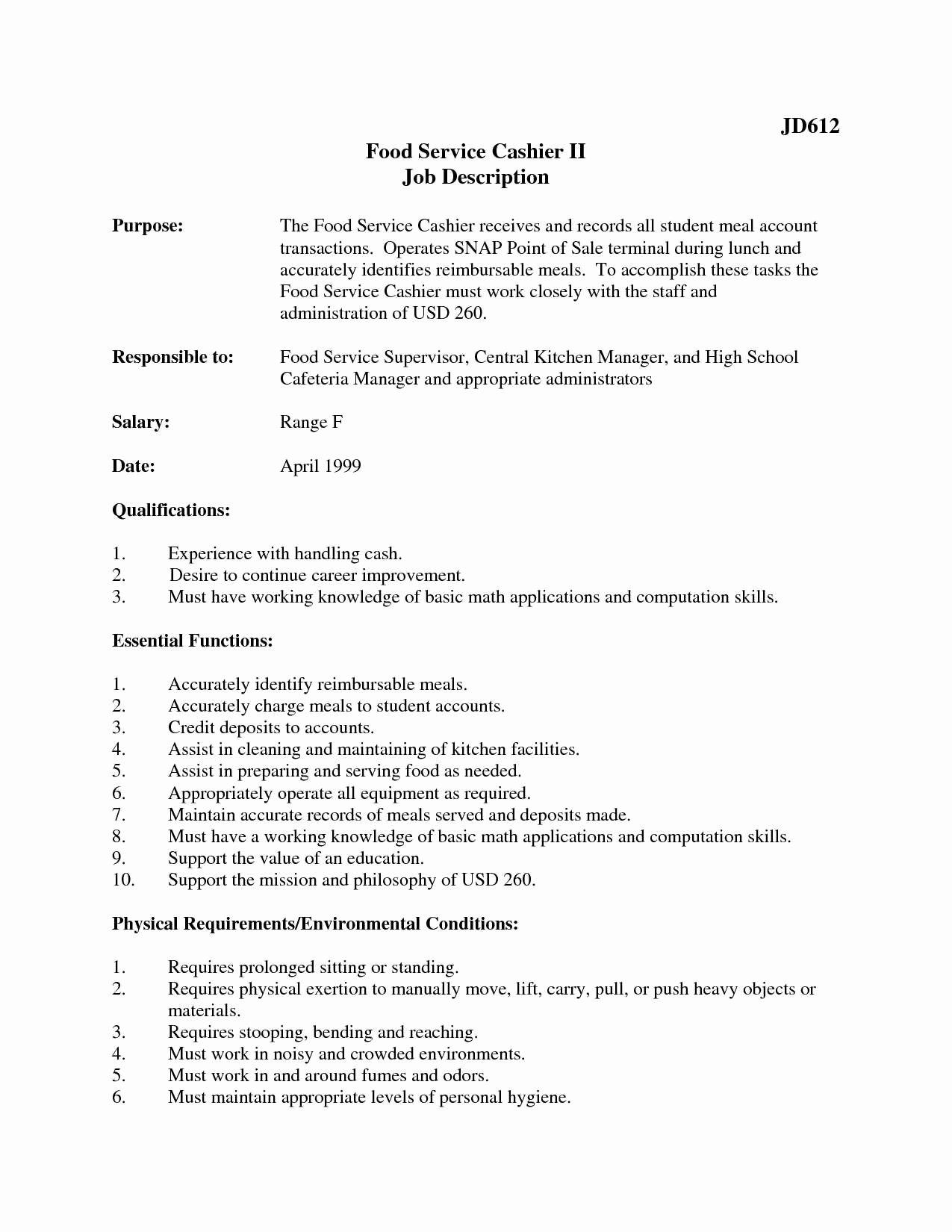 Mcdonalds Job Description Resume Inspirational 42 Clean Mcdonalds Crew Member Job Description for Resume
