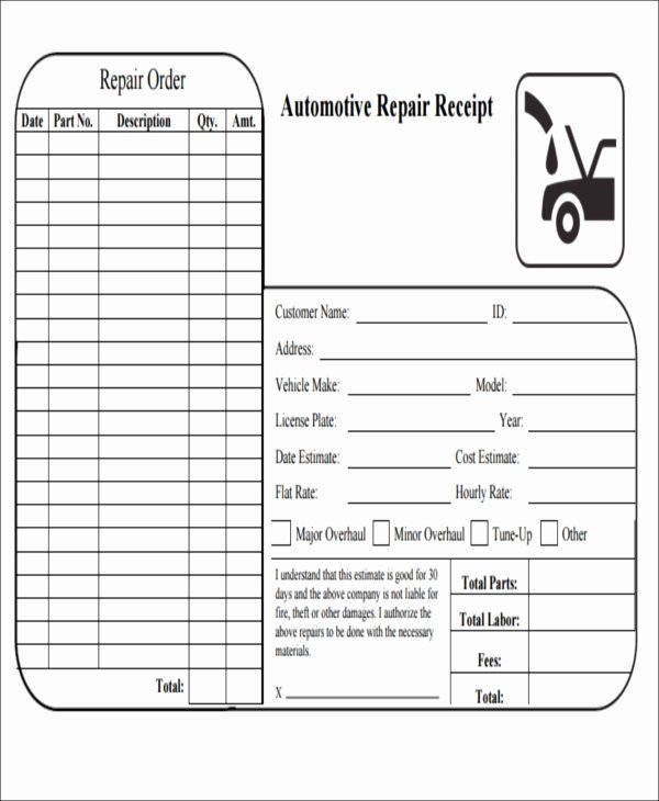Mechanic Receipt Template Elegant 6 Repair Receipt Templates Free Sample Example format