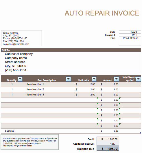 Mechanic Receipt Template Fresh Auto Repair Invoice Template Word