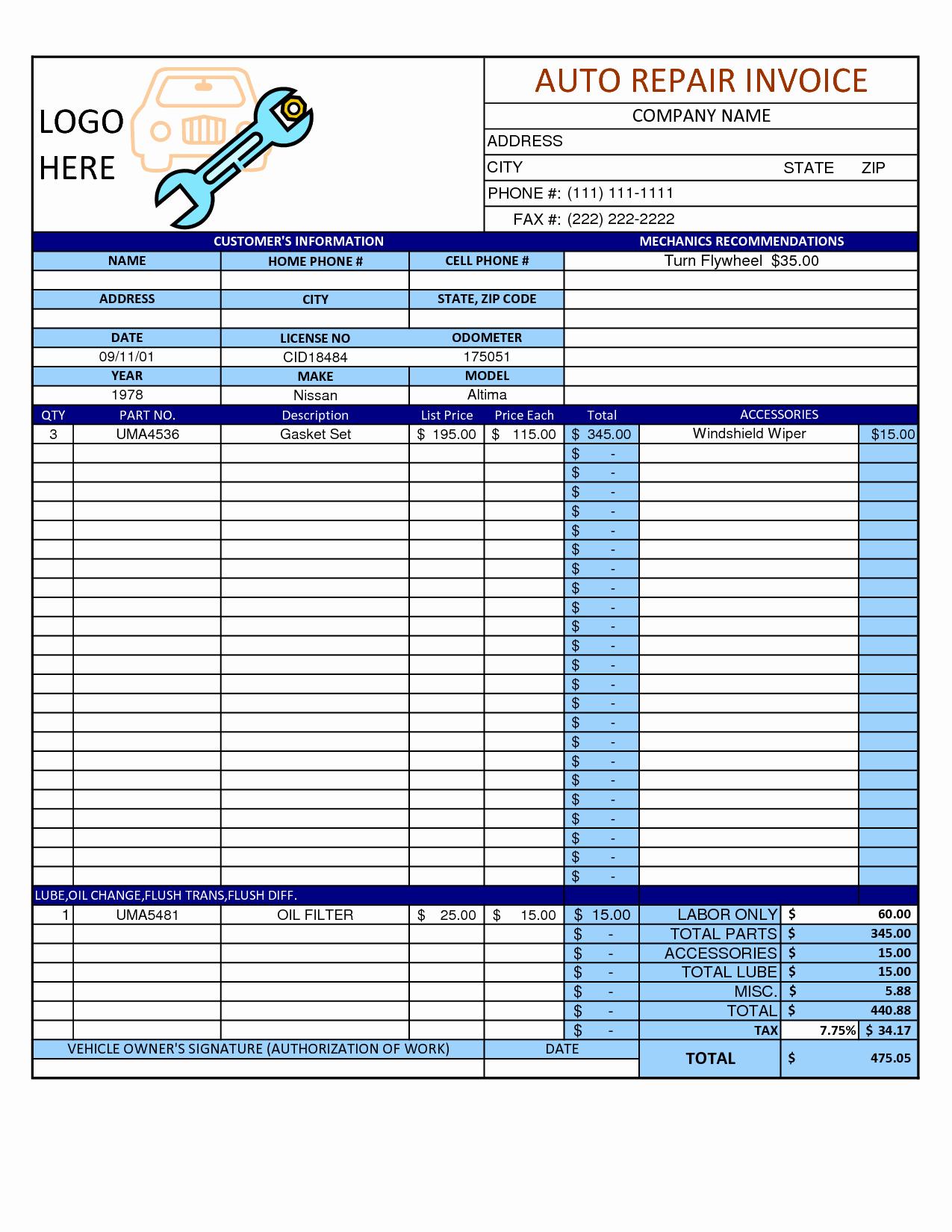 Mechanic Receipt Template Fresh Mechanic Shop Invoice