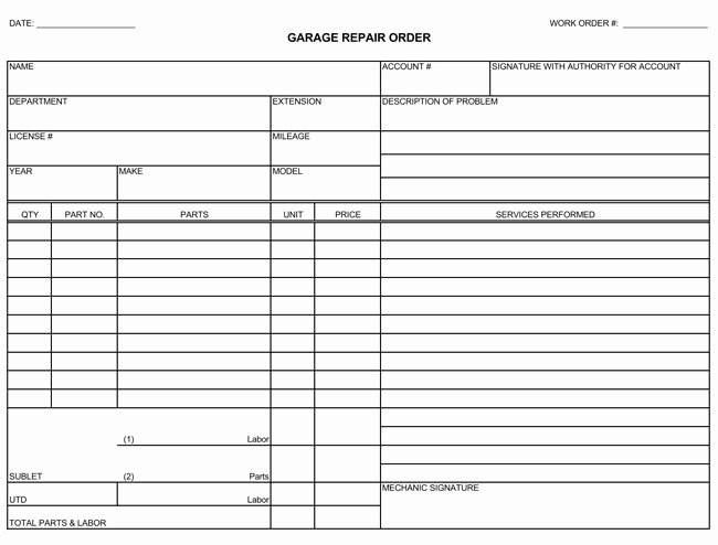 Mechanic Receipt Template New Auto Repair Invoice Templates 10 Printable and Fillable