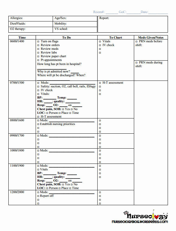 Med Surg Report Sheet Beautiful Shift at A Glance Nursing Med Surg Practicum Checklist and