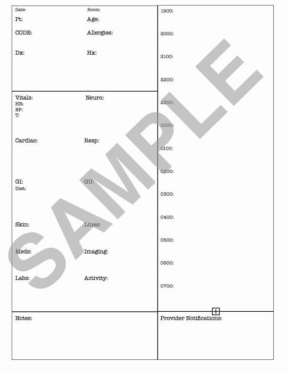 Med Surg Report Sheet Fresh Med Surg Report Sheet Nights 1900 0700