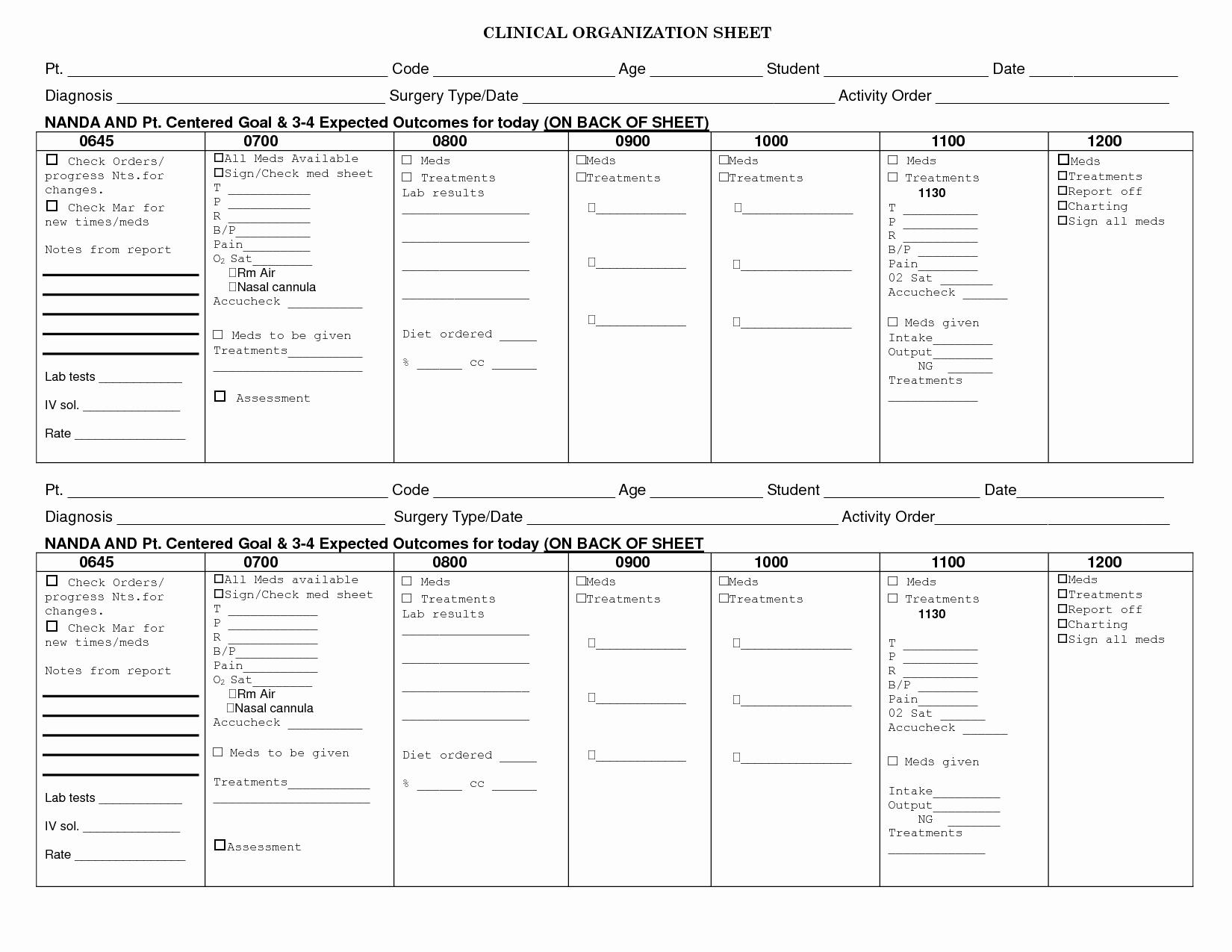 Med Surg Report Sheet Unique 7 Best Of Med Surg organization Sheet Printable