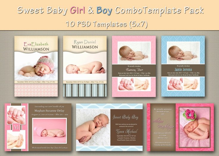 Media Announcement Template Lovely Instant Download Baby Boy and Girl Birth Announcement