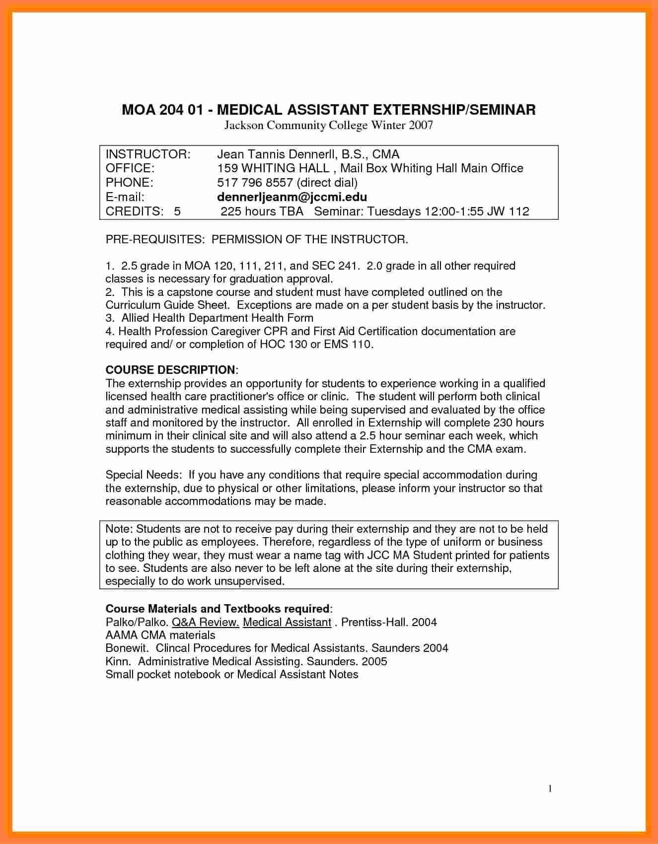 Medical assistant Externship Resume Beautiful 7 Medical assistant Externship Resume