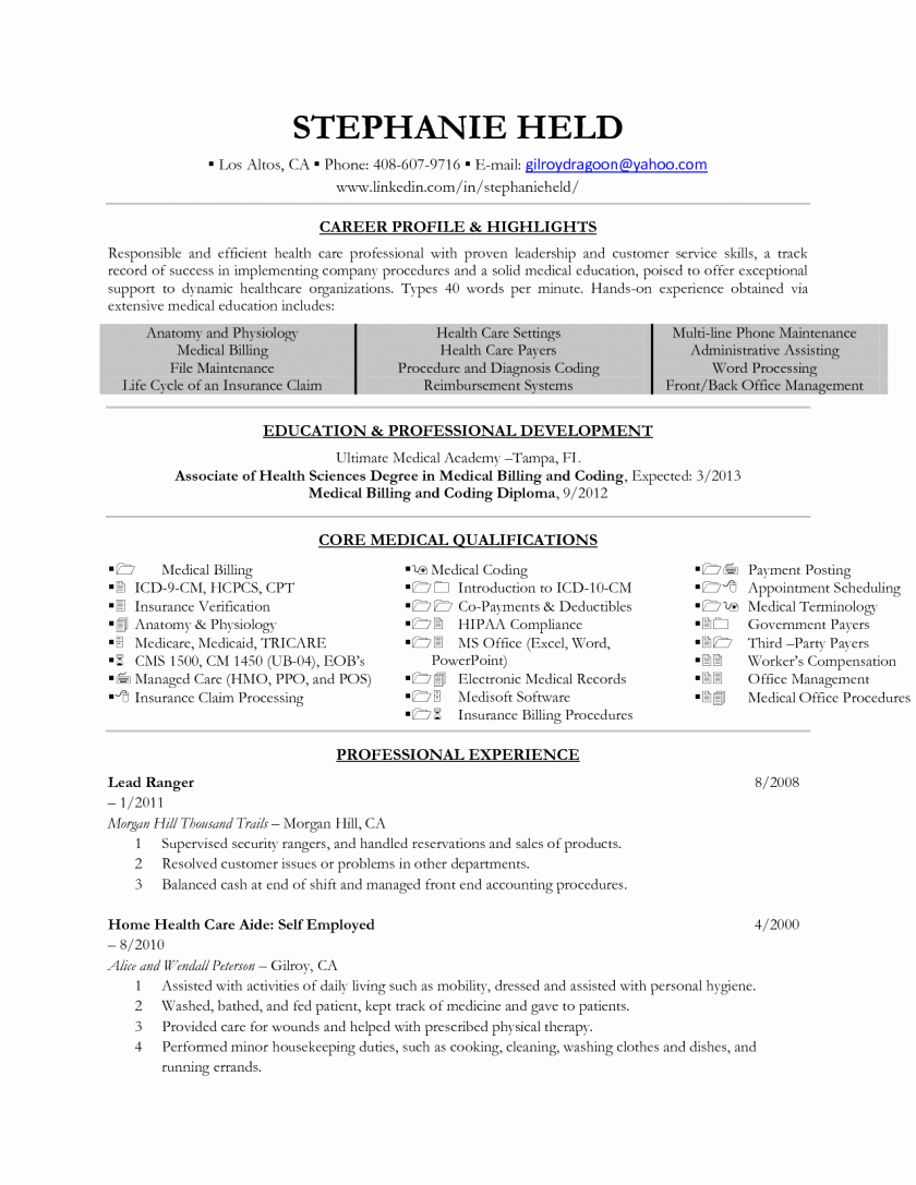 Medical assistant Externship Resume Elegant Cover Letter Examples for Medical Insurance Billing and