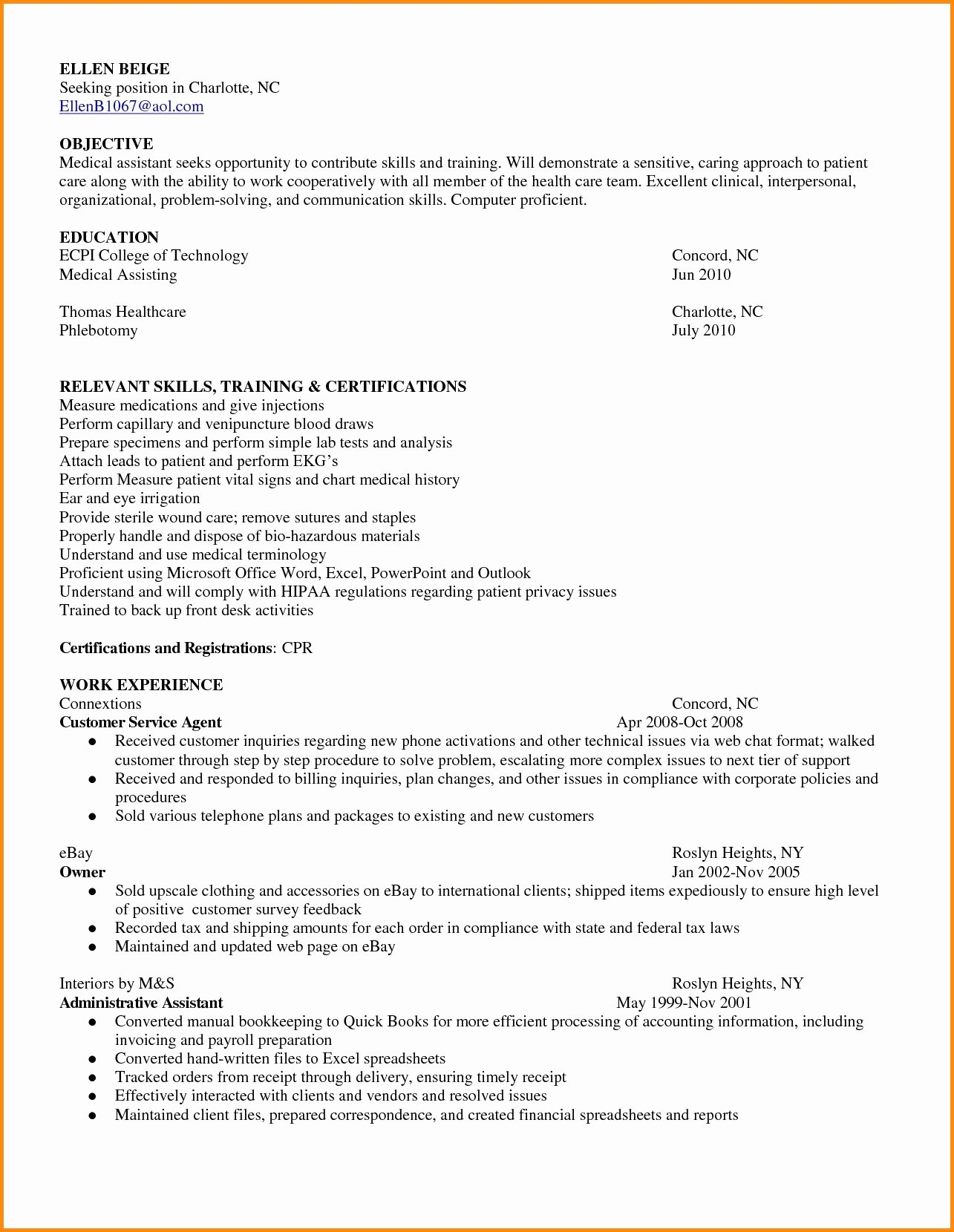 Medical assistant Externship Resume New Resume for Medical assistant Objective Externship Skills