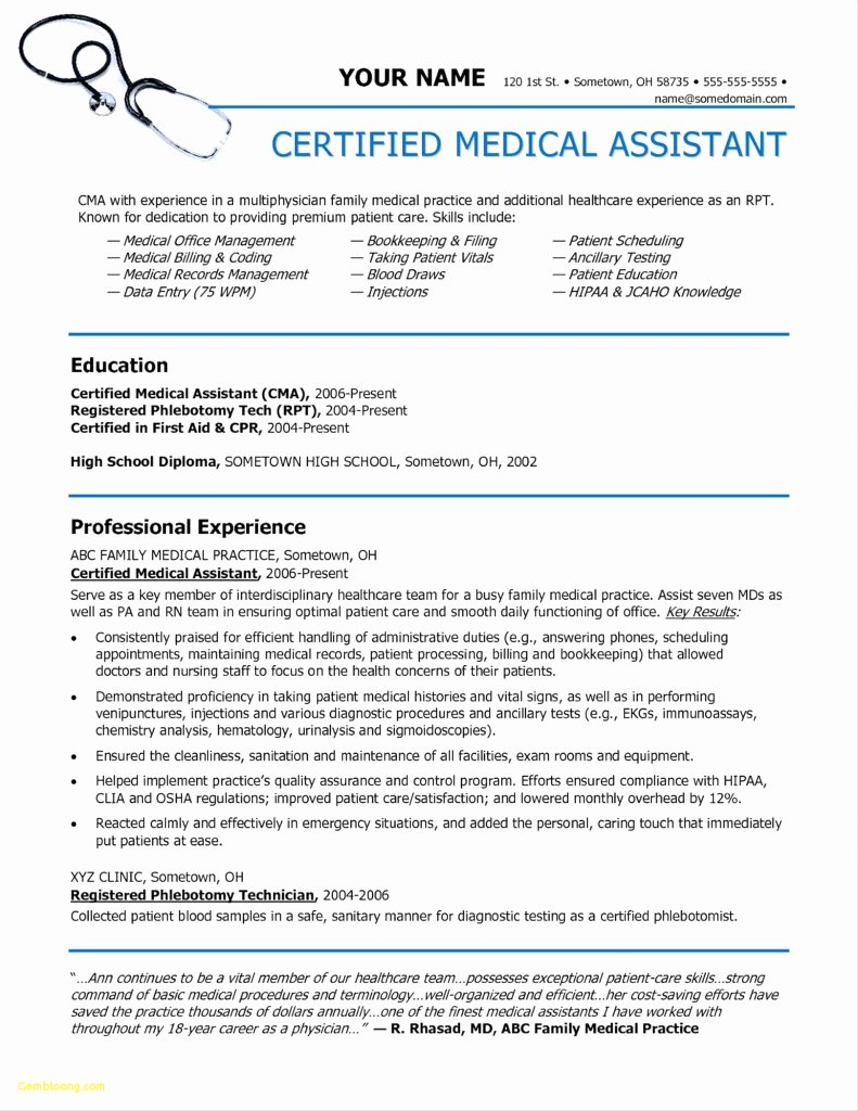 Medical assistant Externship Resume Unique Medical assistant Externship Resume Sample