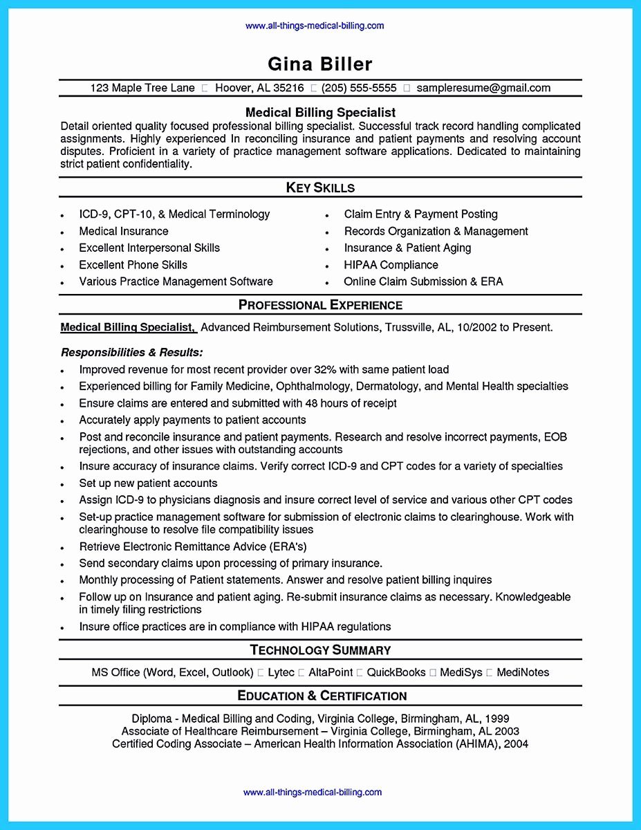 Medical Biller Resume Examples Awesome Exciting Billing Specialist Resume that Brings the Job to You