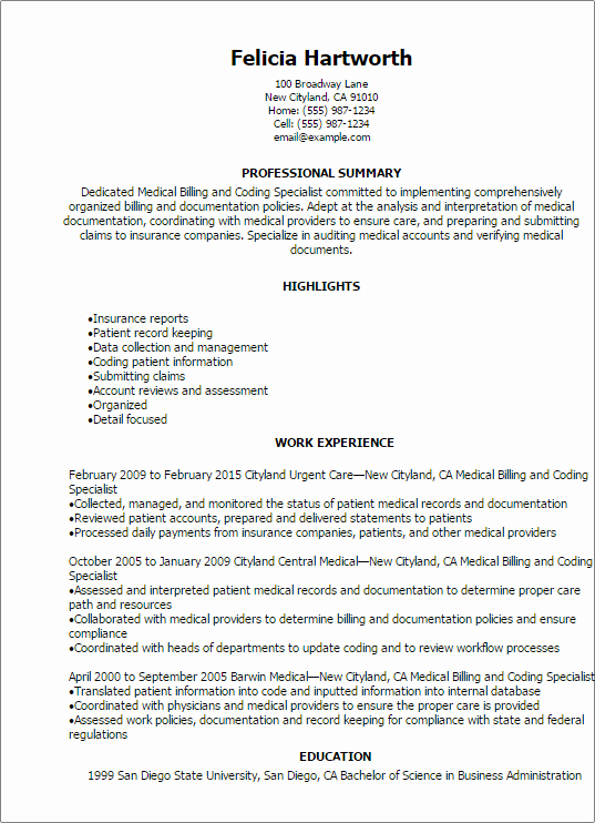 Medical Biller Resume Examples Awesome Medical Billing and Coding Resume Example