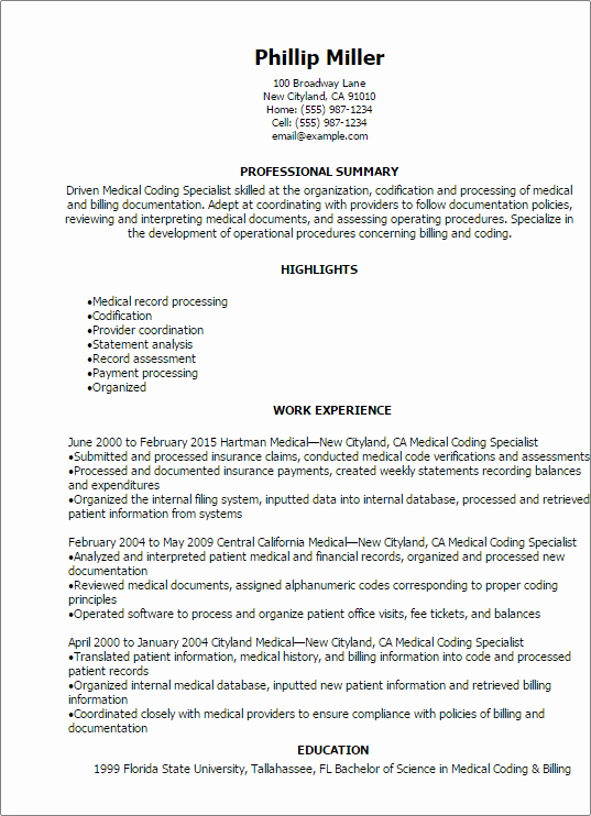 Medical Biller Resume Examples Awesome Professional Medical Coding Specialist Resume Templates to