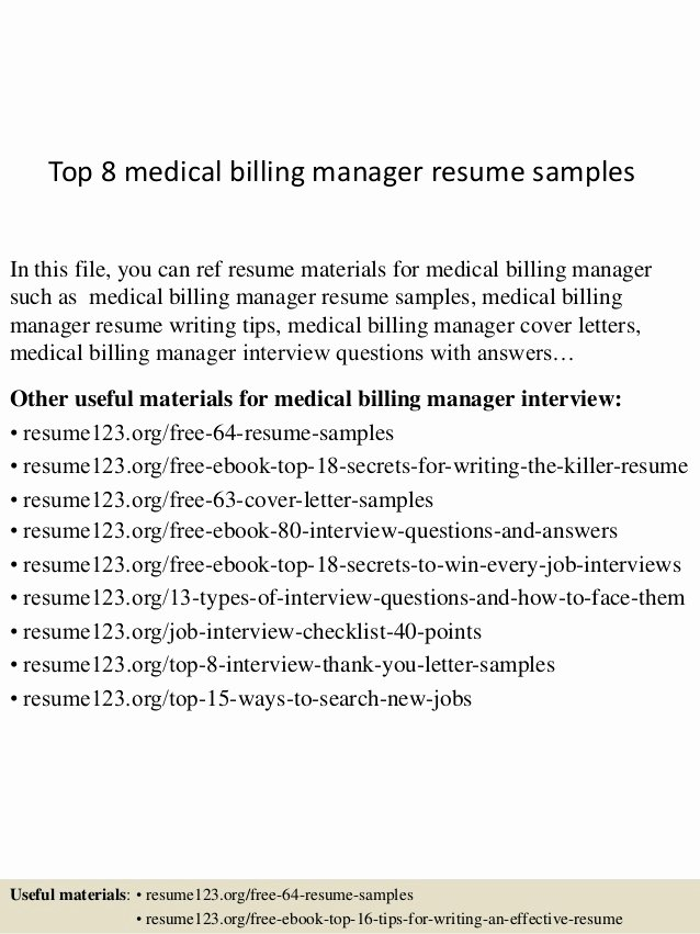Medical Biller Resume Examples Inspirational top 8 Medical Billing Manager Resume Samples