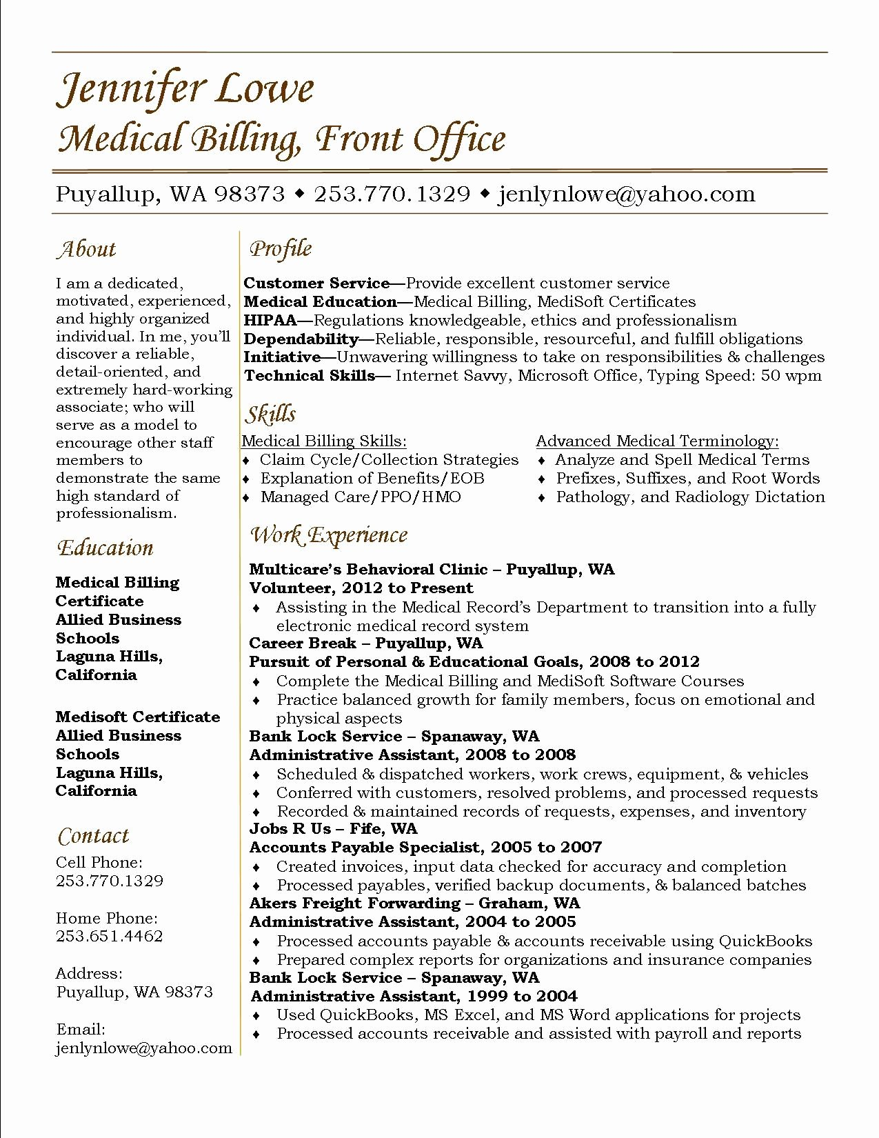 Medical Biller Resume Examples Lovely Jennifer Lowe Resume Medical Billing Resume Career