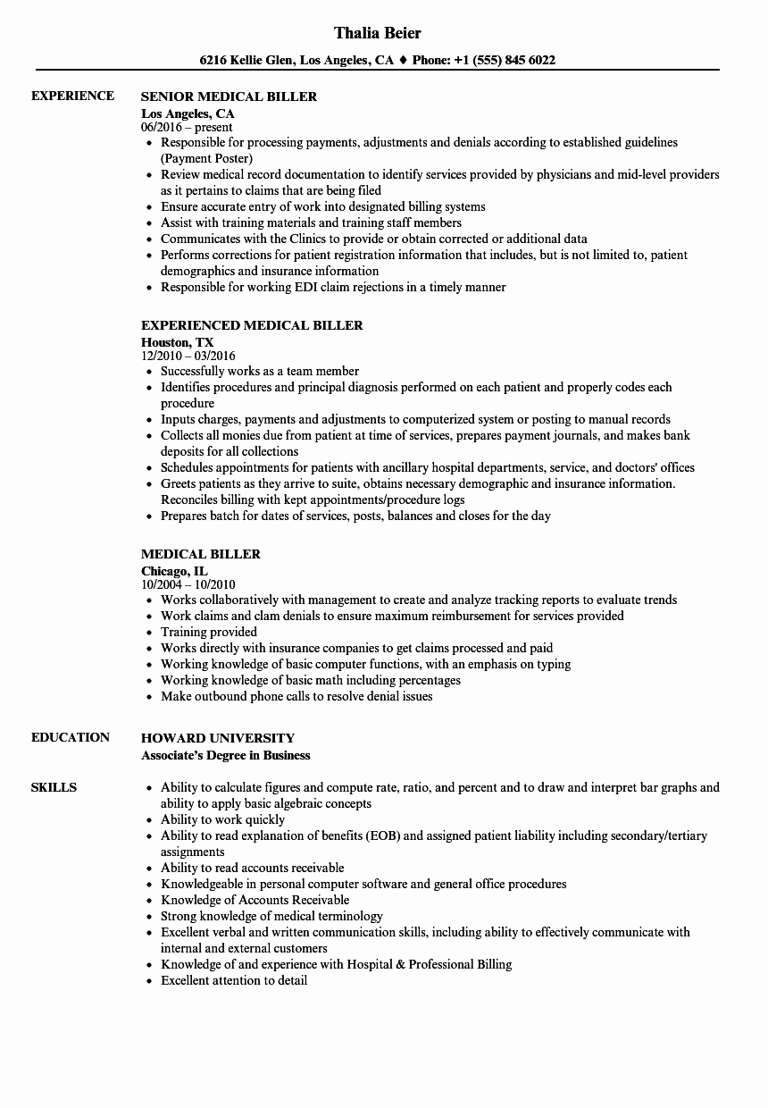 Medical Biller Resume Examples Unique Medical Biller Resume Samples