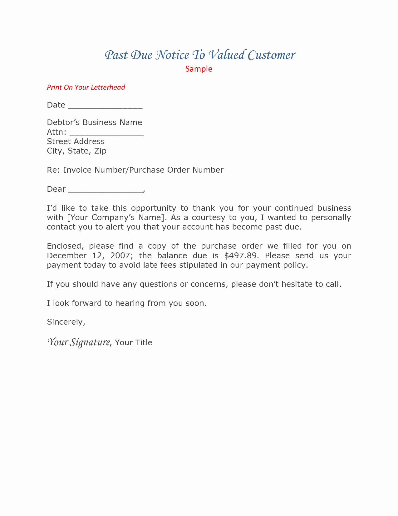 Medical Collection Letter Final Notice New Past Due Invoice Letter Template Collection