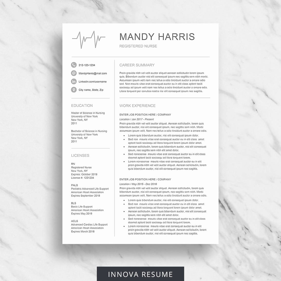 Medical Cv Template Word Awesome Nurse Resume Template for Word Medical Resume Download