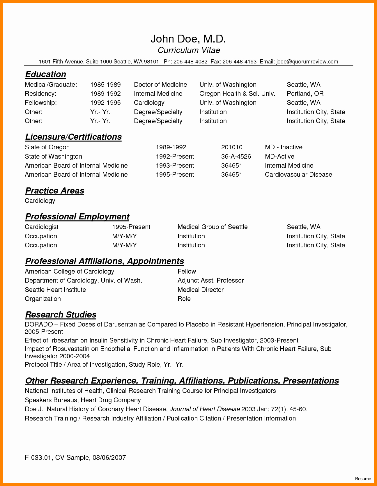 Medical Cv Template Word Beautiful 8 Curriculum Vitae for Doctors Sample