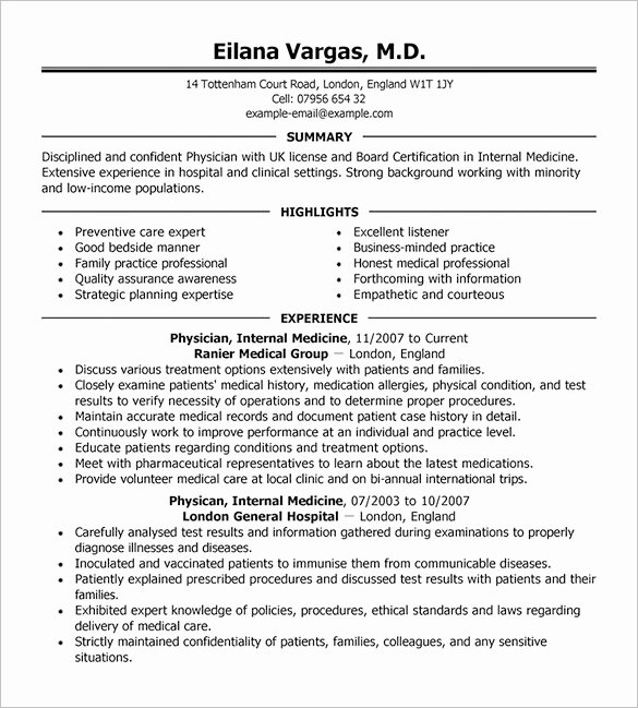 Medical Cv Template Word Elegant Doctor Resume Template – 16 Free Word Excel Pdf format