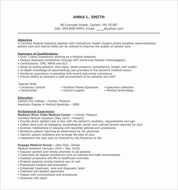 Medical Cv Template Word Inspirational 7 Medical assistant Resume Templates Doc Excel Pdf